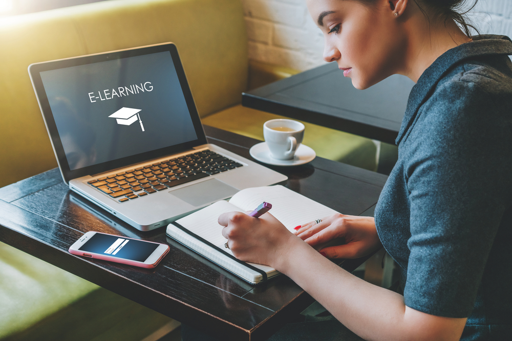 Person studying online